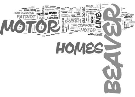 BEAVER MOTOR HOME TEXT WORD CLOUD CONCEPT Vettoriali