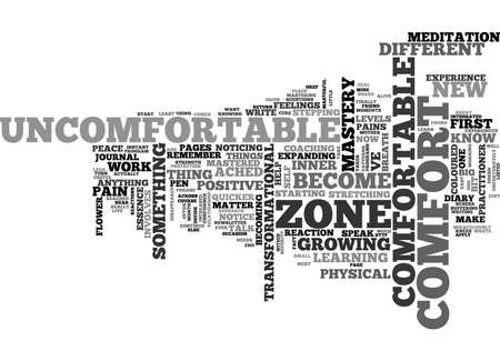 BECOME COMFORTABLE WITH THE UNCOMFORTABLE TEXT WORD CLOUD CONCEPT