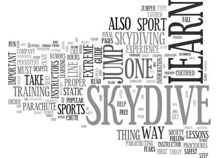 BECOME PART OF THE CLOUDS WHEN YOU LEARN TO SKYDIVE TEXT WORD CLOUD CONCEPT Ilustração