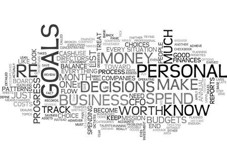 BECOME YOUR OWN PERSONAL CFO TEXT WORD CLOUD CONCEPT