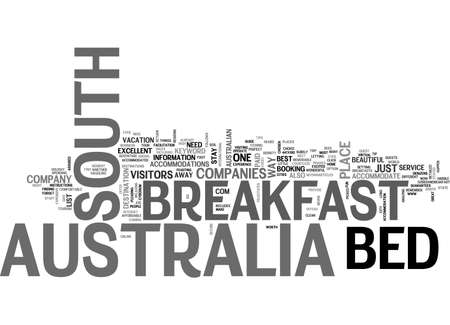 BED AND BREAKFAST SOUTH AUSTRALIA TEXT WORD CLOUD CONCEPT Vettoriali