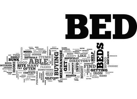 BEDS AND HOW TO TRACK DOWN THE CORRECT MODEL TEXT WORD CLOUD CONCEPT Illustration
