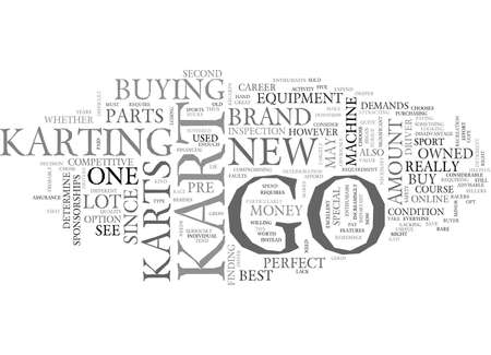 A NEW OR PRE OWNED GO KART TEXT WORD CLOUD CONCEPT 向量圖像