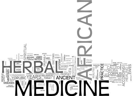 AFRICAN HERBAL MEDICINE TEXT WORD CLOUD CONCEPT Illustration