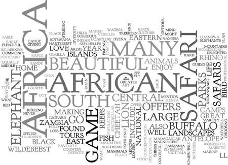 AFRICAN SAFARIS WHERE TO GO TEXT WORD CLOUD CONCEPT