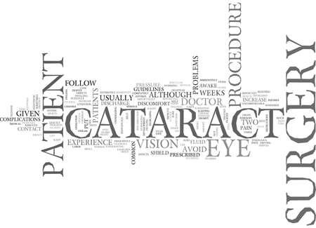 AFTER CATARACT SURGERY TEXT WORD CLOUD CONCEPT Ilustração