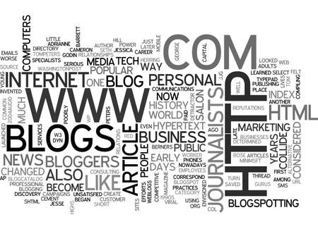 invented: A SHORT HISTORY OF BLOGS TEXT WORD CLOUD CONCEPT