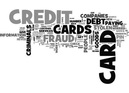 クレジット カード詐欺のテキスト単語クラウドの概念を心配しています。  イラスト・ベクター素材