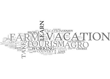 AGRO TOURISM A WEEK AT THE FARM TEXT WORD CLOUD CONCEPT 向量圖像
