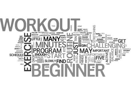 BEGINNER WORKOUT TEXT WORD CLOUD CONCEPT Illustration