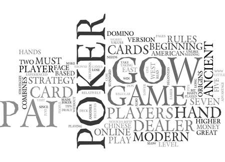 BEGINNERS STRATEGY FOR PAI GOW POKER TEXT WORD CLOUD CONCEPT