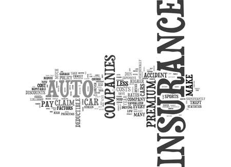 AUTO INSURANCE HOW TO KEEP THE PREMIUM DOWN TEXT WORD CLOUD CONCEPT