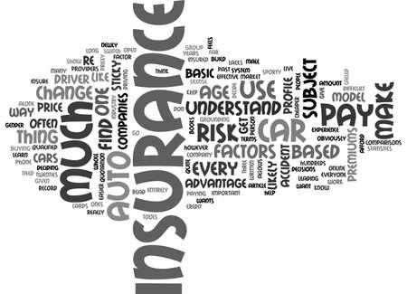 AUTO INSURANCE WHICH ONE TEXT WORD CLOUD CONCEPT Ilustrace