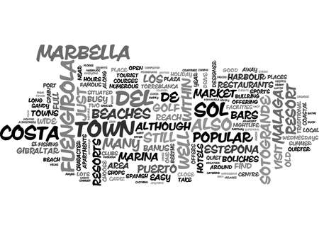 BEACH FRONT RESORTS OF THE COSTA DEL SOL TEXT WORD CLOUD CONCEPT