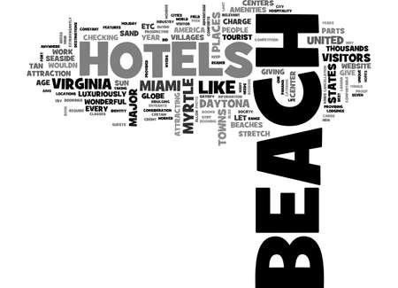 luxuriously: BEACH HOTELS TEXT WORD CLOUD CONCEPT Illustration