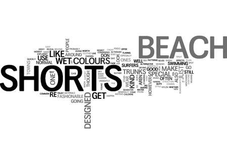 BEACH SHORTS EXPLAINED TEXT WORD CLOUD CONCEPT