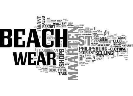 BEACH WEAR ON ST MAARTEN TEXT WORD CLOUD CONCEPT