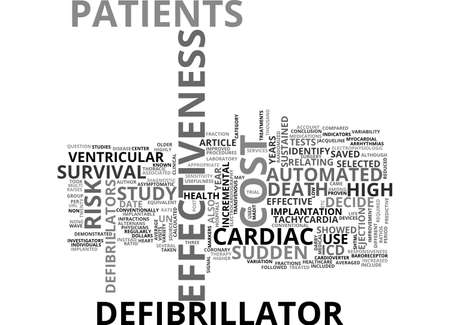 AUTOMATED DEFIBRILLATOR AND COST EFFECTIVENESS TEXT WORD CLOUD CONCEPT