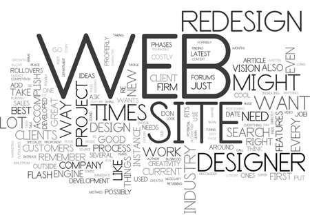 BEFORE YOU REDESIGN YOUR WEB SITE TEXT WORD CLOUD CONCEPT 向量圖像