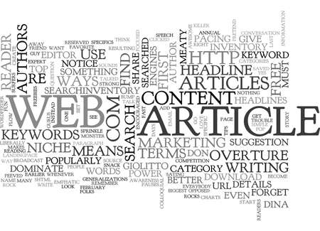 ARE YOU CONTENT WITH YOUR WEB ARTICLES WAYS TO DOMINATE YOUR NICHE WITH COPY THAT ROCKS TEXT WORD CLOUD CONCEPT Vectores