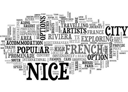 A TOURIST GUIDE TO NICE TEXT WORD CLOUD CONCEPT