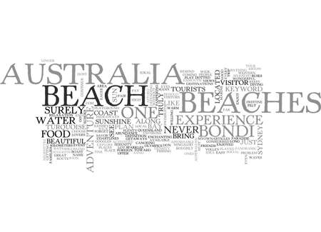 AUSTRALIA BEACHES TEXT WORD CLOUD CONCEPT