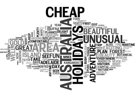 adelaide: AUSTRALIA CHEAP HOLIDAYS TO THREE CITIES TEXT WORD CLOUD CONCEPT Illustration