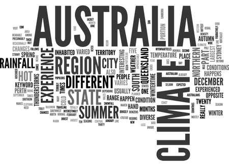 depending: AUSTRALIA CLIMATE TEXT WORD CLOUD CONCEPT Illustration