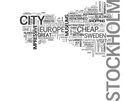 テキスト WORD クラウドの概念はストックホルムの観光ガイド  イラスト・ベクター素材