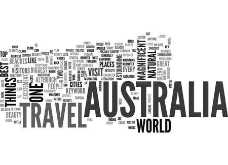 AUSTRALIA TRAVEL TEXT WORD CLOUD CONCEPT Illustration