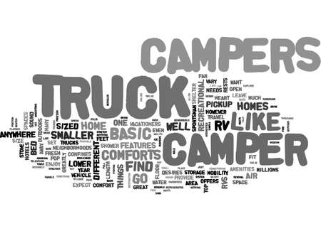 confines: A TRUCK CAMPER OFFERS FREEDOM LIKE NO OTHER TEXT WORD CLOUD CONCEPT