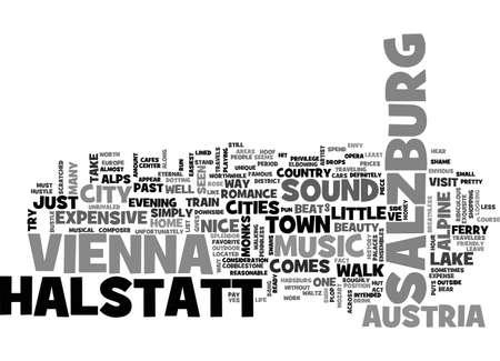 AUSTRIA VIENNA SALZBURG HALSTATT AND SOUND OF MUSIC TEXT WORD CLOUD CONCEPT