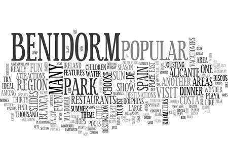 A VISIT TO BENIDORM SPAIN TEXT WORD CLOUD CONCEPT