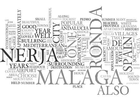 EEN BEZOEK AAN RONDA MALAGA EN NERJA SPANJE TEKST WORD CLOUD CONCEPT Stock Illustratie