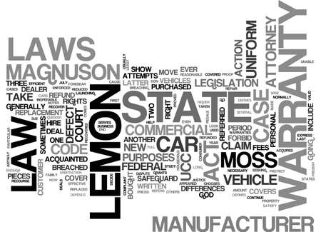 AUTO LEMON LAWS TEXT WORD CLOUD CONCEPT