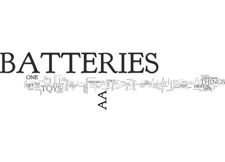 Aa batteries text word cloud concept Çizim