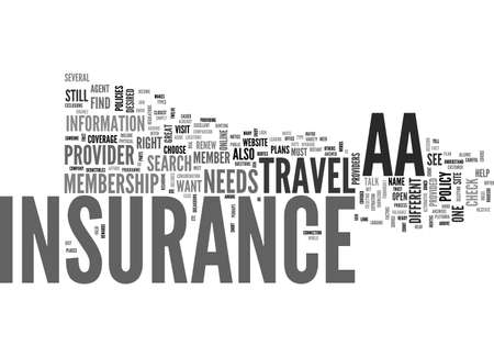 AA TRAVEL INSURANCE TEXT WORD CLOUD CONCEPT 向量圖像