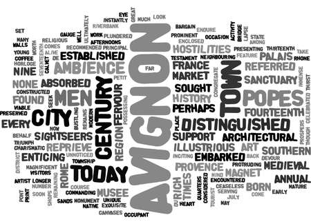 AVIGNON GREAT CITY OF THE POPES TEXT WORD CLOUD CONCEPT Ilustração