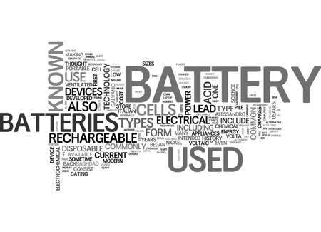 electrochemical: BATTERY SIZES AND TYPES TEXT WORD CLOUD CONCEPT