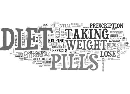 BE CAREFUL WITH DIET PILLS TEXT WORD CLOUD CONCEPT