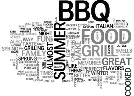 sprung: BBQ FOOD IS THE MENTAL CUE THAT SUMMER IS HERE TEXT WORD CLOUD CONCEPT