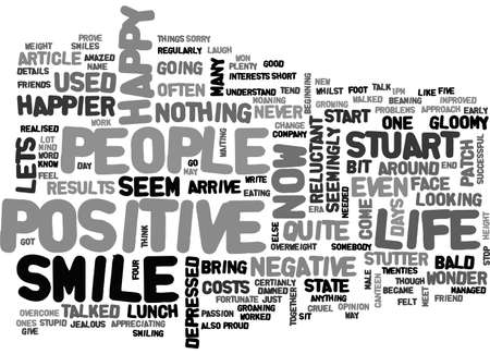 BE HAPPY AND GIVE US A SMILE TEXT WORD CLOUD CONCEPT Illustration