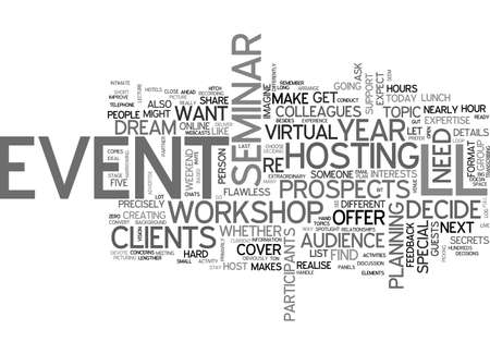 prospects: BE FAMOUS HOST A SEMINAR TEXT WORD CLOUD CONCEPT