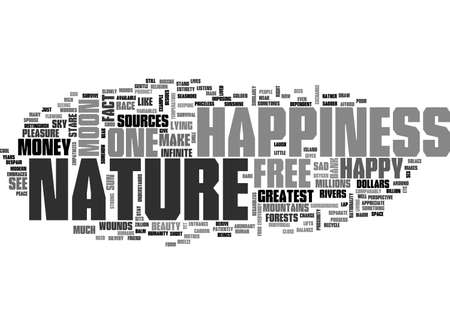 BE HAPPY ONE OF THE GREATEST SOURCES OF HAPPINESS NATURE TEXT WORD CLOUD CONCEPT Ilustração