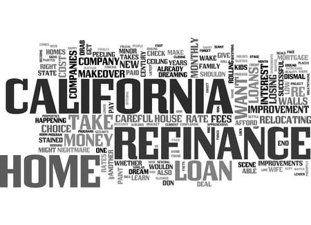 BEFORE AND AFTER YOUR CALIFORNIA REFINANCE TEXT WORD CLOUD CONCEPT 向量圖像