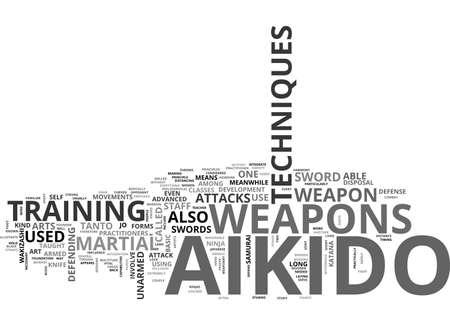 AIKIDO TECHNIQUE WEAPON TEXT WORD CLOUD CONCEPT