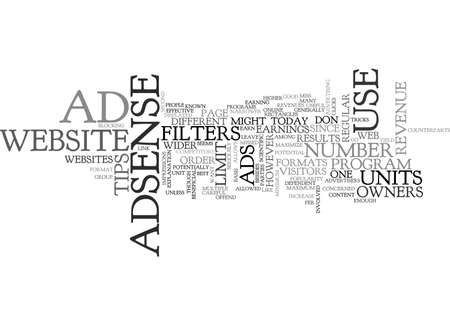 ADSENSE TIPS THAT YOU MIGHT HAVE MISSED OUT ON TEXT WORD CLOUD CONCEPT Illustration