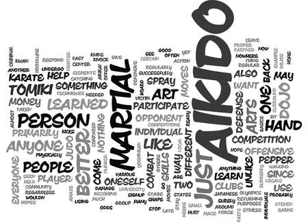 AIKIDO TOMIKI TEXT WORD CLOUD CONCEPT Illustration