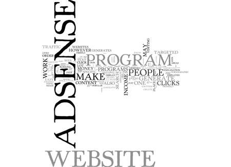 ADSENSE TOP TIPS ON HOW TO MAKE YOUR ADSENSE BUSINESS WORK BETTER TEXT WORD CLOUD CONCEPT Ilustração