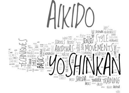 AIKIDO YOSHINKAN TEXT WORD CLOUD CONCEPT Illustration